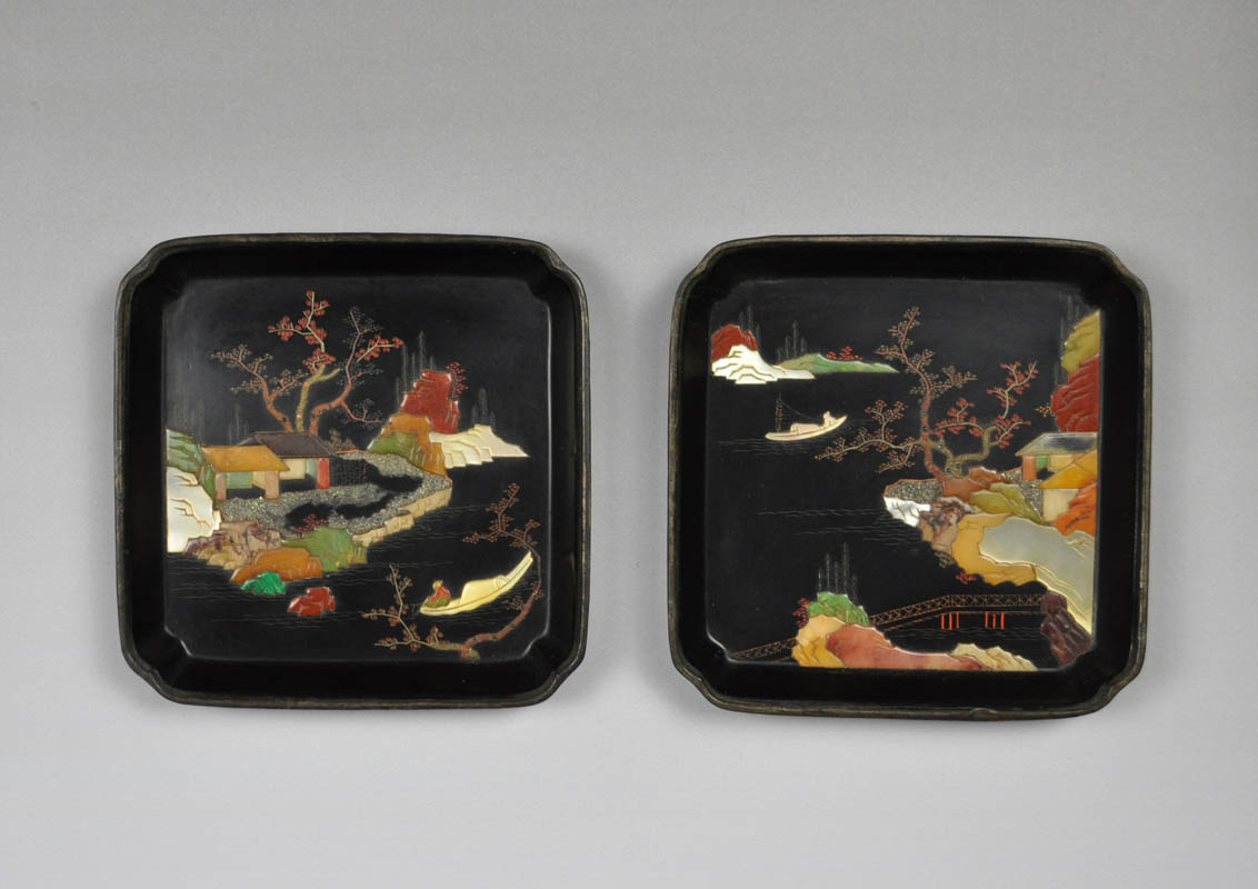 Pair of small inlayed plates