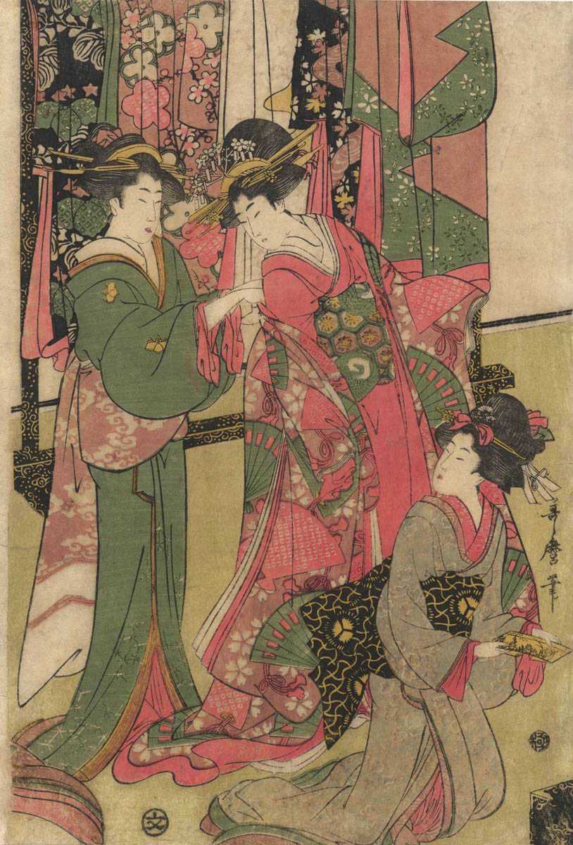 UTAMARO (1753 ?-1806). The change of dress. (Sold)