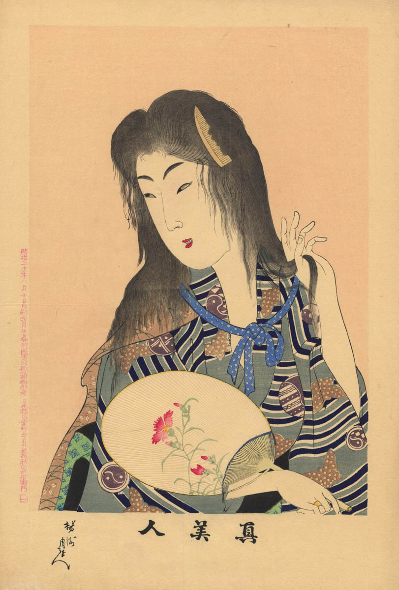 CHIKANOBU (1838–1912). Bijin long hairs