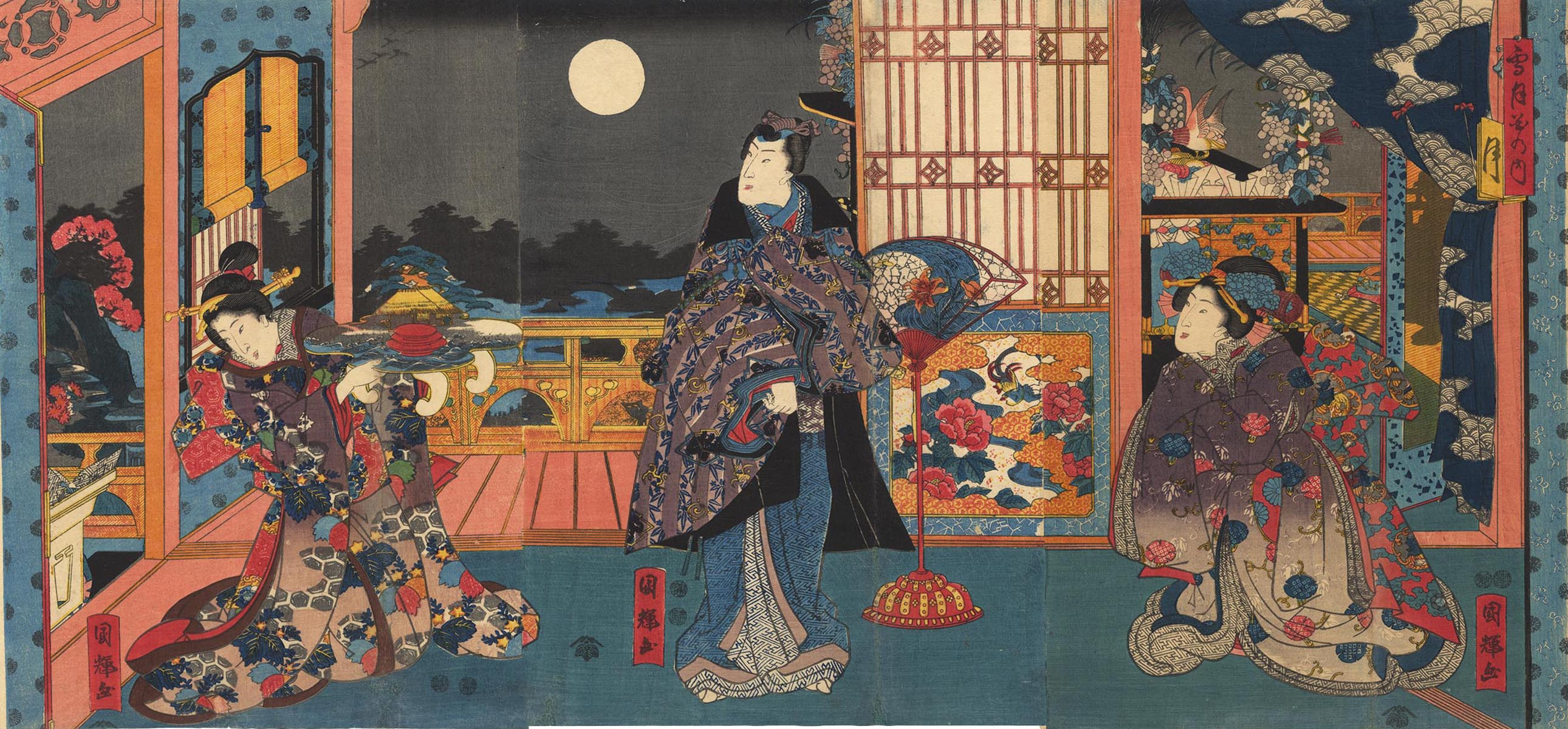 KUNITERU  (fl. 1850 ca.) The Genji and the moon