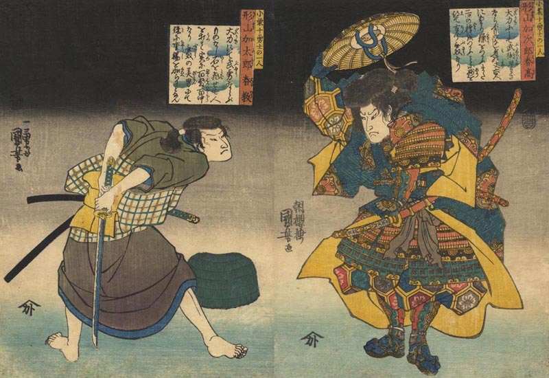 KUNIYOSHI  (1797-1861). Two warriors.