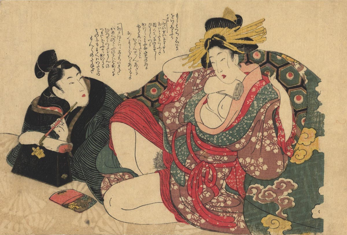UTAMARO II  (? -1833). Two lovers in the room.