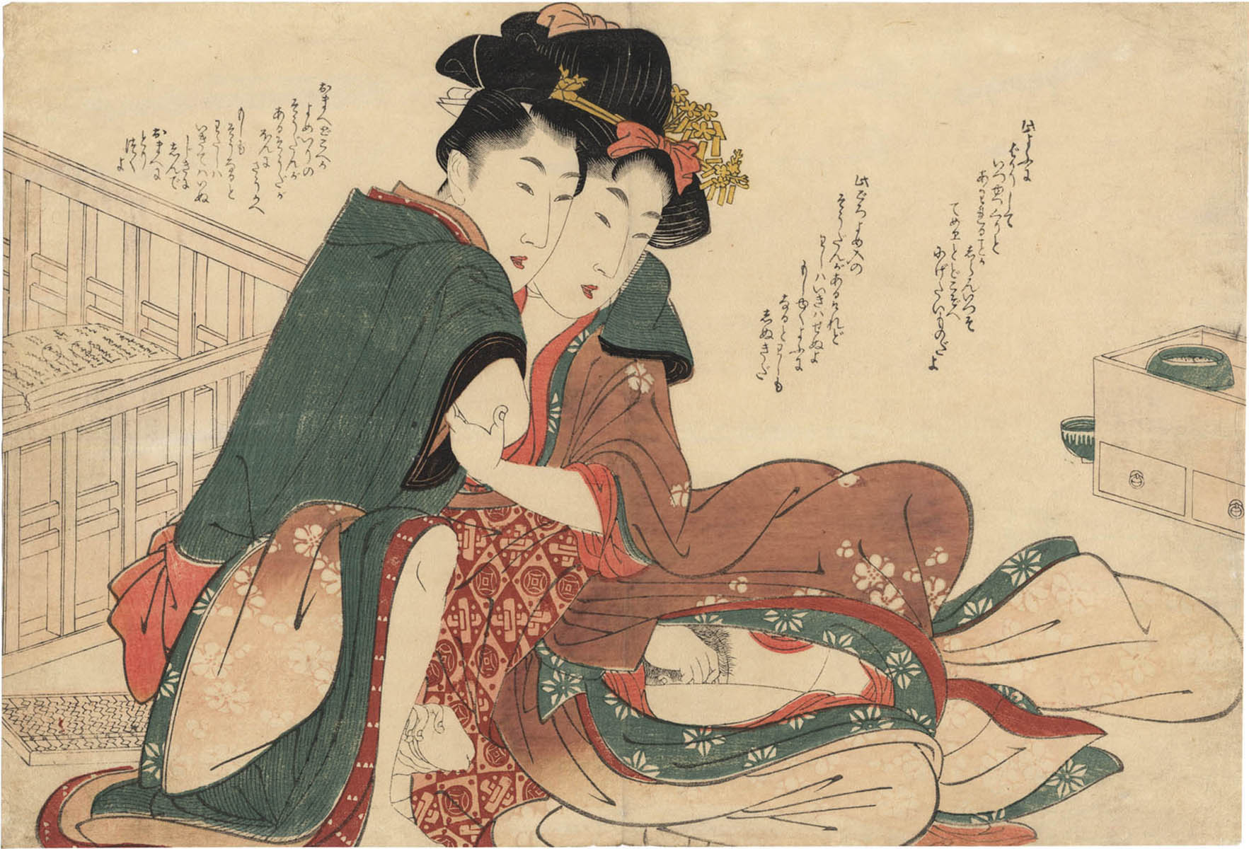 UTAMARO SCHOOL. A lady and lover