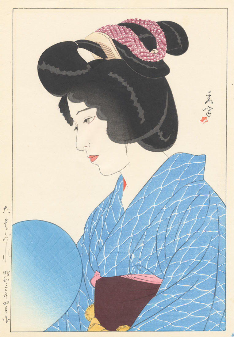 SHUHO  (1898-1944). A lady with fan. (Sold)