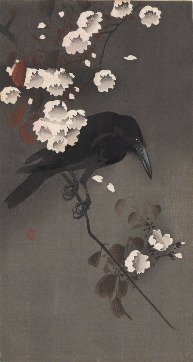 KOSON  (1877-1945). A crow on cerry branch. (Sold)