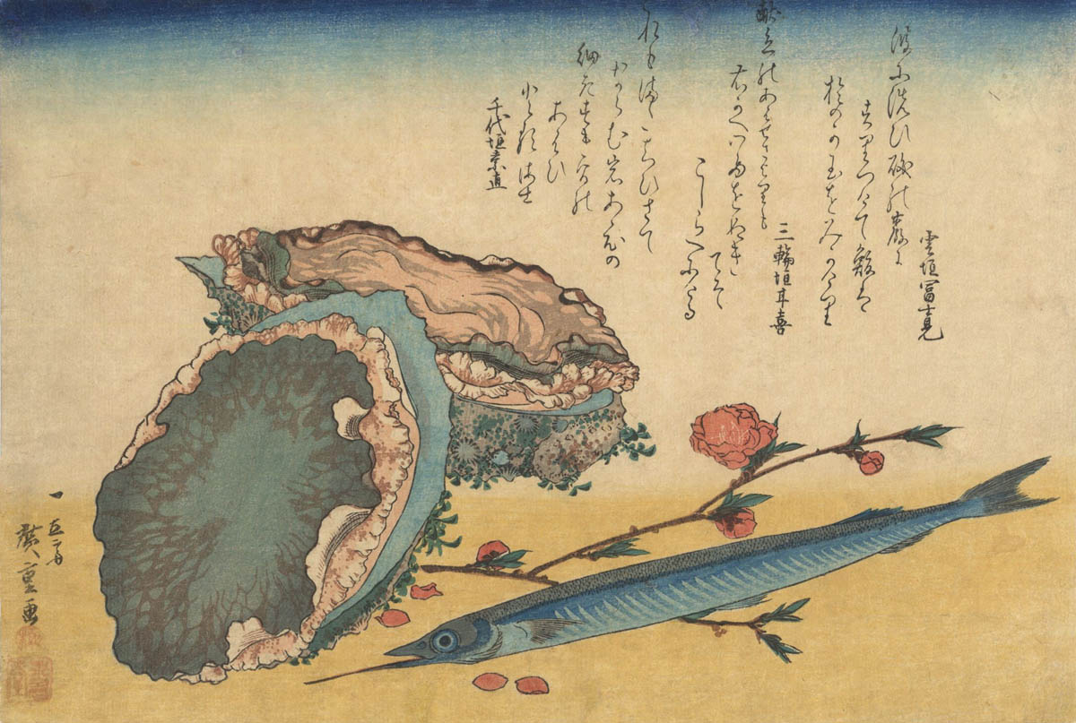 HIROSHIGE  (1797-1858). Abalone and fish. (Sold)